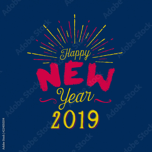 handmade style greeting card happy new year 2019 vector eps10 for your print