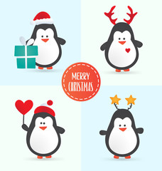 Christmas penguin characters . Set of winter cartoon vector illustrations