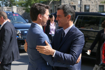Canadian PM Trudeau greets Spanish PM Sanchez in Montreal