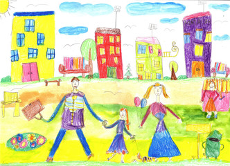 Child's drawing of a happy family on a walk