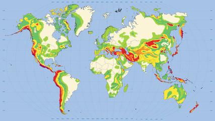 Mappa Rischi Sismici Terrestri - Editable - 16:9