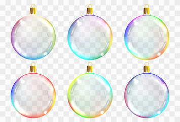 Vector transparent christmas glass balls. Xmas balsl decoration template can use any color background