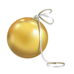 Beautiful realistic New Year 3D glassy yellow ball with reflects isolated on white background. Traditional decoration for a Christmas tree. Vector illustration.