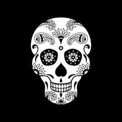 Vector white sugar skull with doodle floral pattern on black background. Illustration for Mexican Day of the Dead Celebration Festival