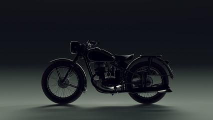 Vintage Black and Chrome Back lit Motorcycle 3d illustration 3d render