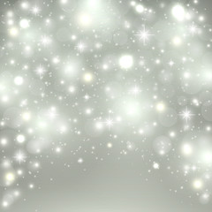 Silver light background. Christmas design with snow, snowflakes, sparkle stars, glitter. Winter holiday background with xmas decoration. Vector illustration