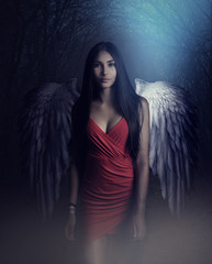 A beautiful white archangel descended from heaven. A girl with a sexy red dress with huge white wings. Artistic Photography