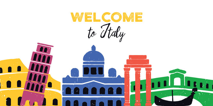 Welcome to italy. Italian architecture. Vector illustration on white background.