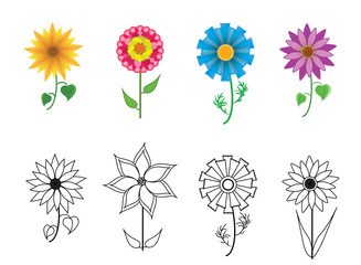 Set of colorful flowers. Vector collection symbols of garden and meadow flowers.