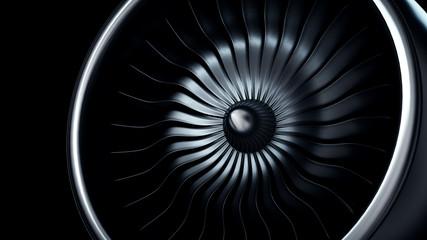 3d Illustration of jet engine, close-up view jet engine blades
