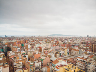 Aerial view Sants-Montjuic residential district from helicopter. Barcelona