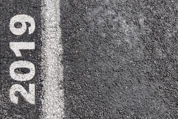 Empty road message on asphalt line. New Year Resolution 2019