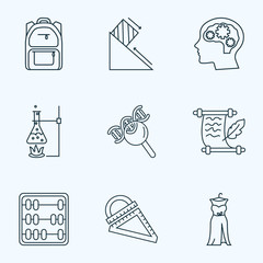 School icons line style set with school backpack, ruler, psychology and other genetic  elements. Isolated vector illustration school icons.