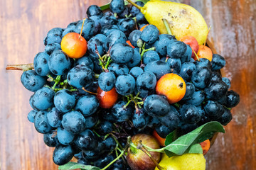 Blue grapes and pears in a vase. Fruit composition.