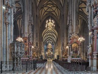 Interior of St. Stephen's Cathedral in Vienna, Austria