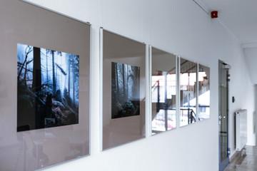 Bilder einer Ausstellung hängen in Bilderrahmen mitten in einem hellen Flur