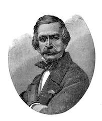Engraving portrait of Massimo Taparelli, Marquess of Azeglio (1798-1866), Piedmontese Italian staesman, novelist and painter