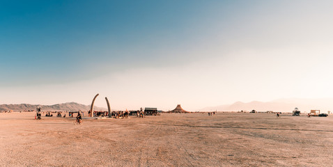 Beautiful art installations in the middle of a desert.