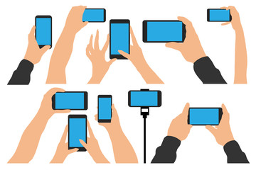 Hands holding Phone, smartphone. Isolated set vector illustration