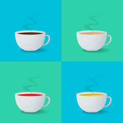 Set of white cups with espresso, coffee with milk, black and green tea. Vector illustration.