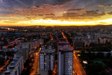 Aerial view of cityscape at evening with beautiful sunset