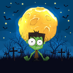 Zombie on Halloween background with Moon
