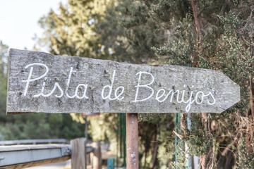 Poster with the title of track of benijos, on a hillside in Tenerife