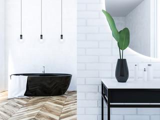 White brick loft bathroom, black tub close up