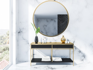 Black vanity unit and mirror, marble bathroom