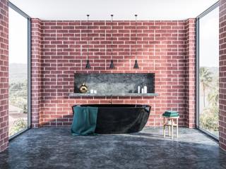 Brick bathroom interior, black tub