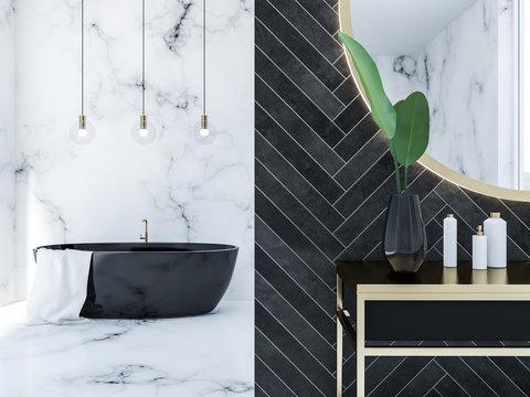 Black wood loft bathroom, black tub close up