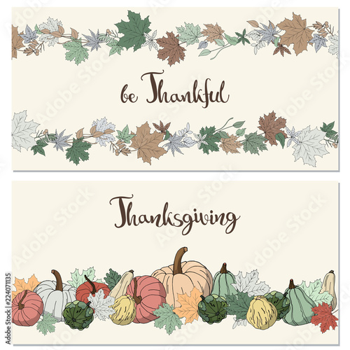 2 thanksgiving congratulations invitations cards with leaves and