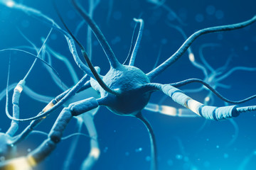 Wall Mural - Blue glowing neurons over blue background
