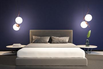 Dark blue minimalistic bedroom interior master bed