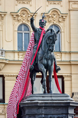 Statue of Ban Josip Jelacic, erected by Anton Dominik Fernkorn on the Jelacic square in Zagreb in 1866. Jelacic, a Croatian national hero, had supported Croatian independence during the Hapsburg rule