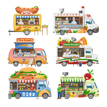 Food truck vector street food-truck vehicle and fastfood delivery transport with hotdog or pizza illustration set of man character selling in foodtruck isolated on white background