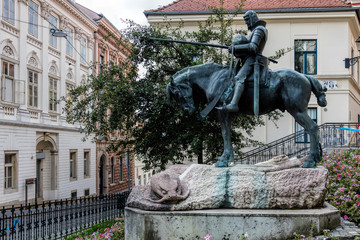 Equestrian Statue of St. George and the Dragon in Zagreb, Croatia, sculpted by Austrian sculptors Kompatscher and Winder