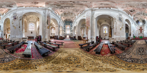 full seamless spherical panorama 360 by 180 degrees angle view interior abandoned Orthodox church in equirectangular projection, ready AR VR virtual reality