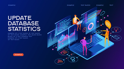 Update database statistics isometric concept banner
