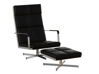 Black armchair  pouf leather 3d rendering