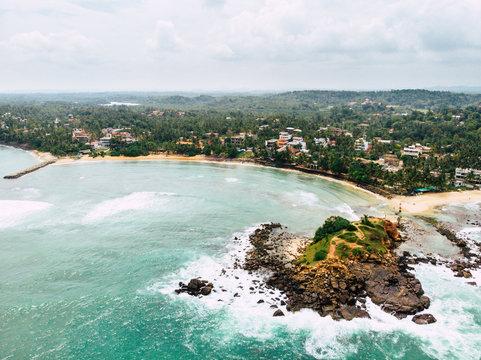 Palm Beach aerial view, Mirisa Sri Lanka. long shot