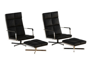 Two Black office chair and pouf 3d rendering