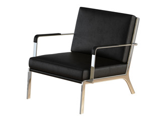 Black office armchair 3d rendering