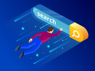 Isometric Search bar modern concept. Search engine optimization and web analytics elements. Vector interface element with search button. - fototapety na wymiar