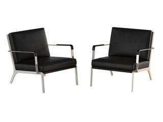 Two black office armchair 3d rendering