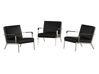 Three black office armchair 3d rendering