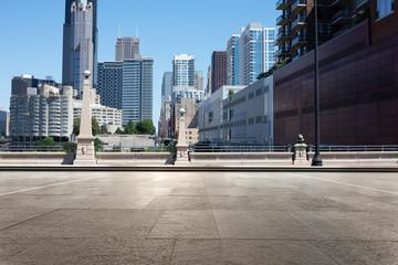 empty street through moder city in chicago