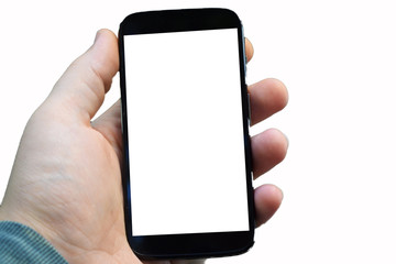 mobile phone in hand on a white background, place for advertisement, lettering