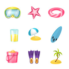 Isolated object of equipment and swimming logo. Set of equipment and activity stock vector illustration.