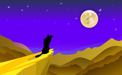 Cartoon background Illustration Featuring the Silhouette of a Howling Wolf. Desert landscape of mountains and dunes. Vector moonlight